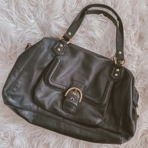 Coach Campbel izzy black pebble leather handbag